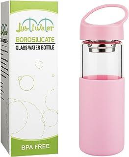Justfwater Botella de Agua de Cristal con Funda de Silicona con Infusor de Frutas,Filtro para Té - 450 ml