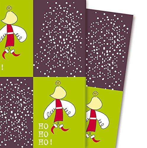 Grafisch kerstpapier/cadeaupapier met Kerstman/Sinterklaas Naam, bordeaux (4 vellen, 32 x 48 cm) decoratiepapier, papier om in te pakken, voor leuke cadeauverpakking en verrassingen