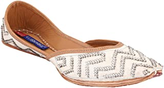 MSC Leather Ethnic White Flat Bellie for Women