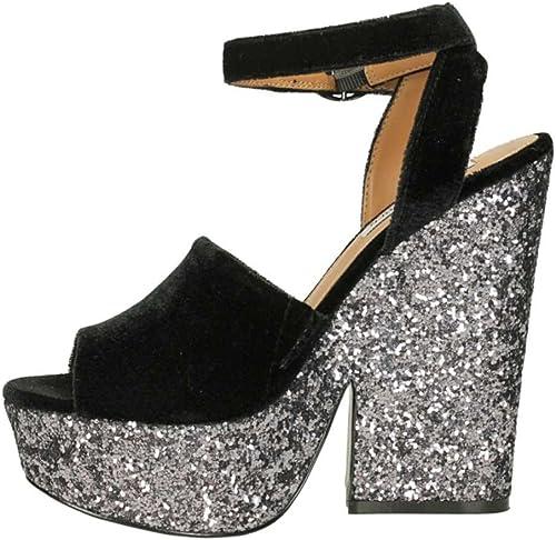 F1114 Sandalo mujer Velvet negro STEVE MADDEN zapatos velluto Glitter zapatos Woman
