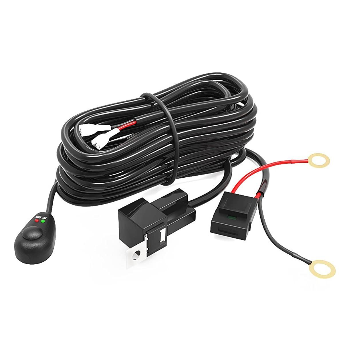 LED Light Bar YITAMOTOR Offroad Driving Light Bar Wiring Harness with Fuse Relay ON/OFF Switch compatible for ATV Fog Light Led Spotlights Up to 180W 12V/40A 8ft
