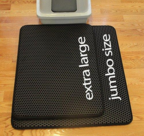 iPrimio Jumbo Size Cat Litter Trapper Litter Mat, EZ Clean Cat Mat, Litter Box Mat Water Proof Layer and Puppy Pad Option. Patented. (32x30 Black)