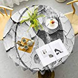 Household tablecloth Grunge Cracked Yin Yang Sign on the Wall Graphic Art Union Zen Charcoal Grey Silver Buffet Table Washable, decorations, holiday homes, Christmas parties, picnics Diameter 60'