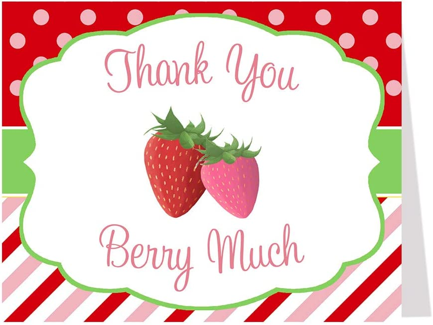 Berry Sweet Baby Shower Thank You Cards Little Strawberry Folding Notes Girls It's a Girl Polkadots Fruit Red Green Blank Inside (50 Count)