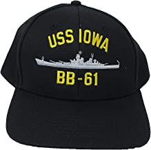 USS Iowa BB-61 Embroidered Baseball Cap. Navy Blue. Made in USA
