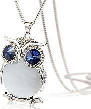 TOPUNDER Women Owl Pendant Diamond Sweater Chain Long Necklace Jewelry