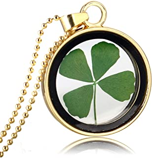 ZM168 Natural Four-Leaf Clover Necklace Stainless Steel Bead Chain Charms Simple Hollow Lucky Jewellery