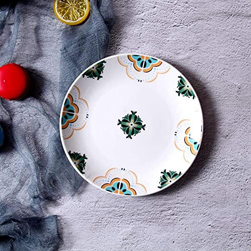 XQMY Plato de cerámica para Hotel de 8 Pulgadas, Plato frío, Utensilios de Cocina Japonesa, Plato de Ensalada, Plato de Bola de Masa, Verde 20Cm