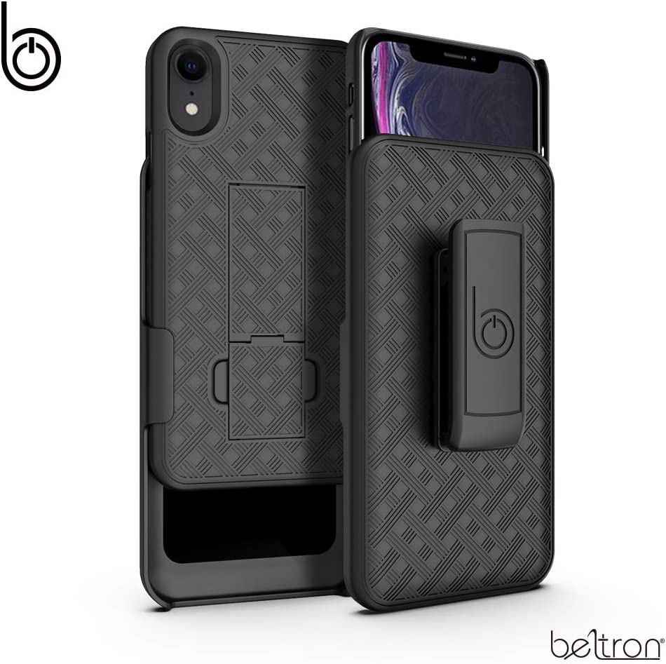 BELTRON Case with Belt Clip Holster for iPhone X / iPhone XS, Slim Protective Belt Clip Slider Case (Shell/Holster Combo) with Built-in Kickstand