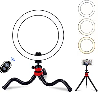 "BLOOMWIN Anillo de Luz LED Regulable 10"" para Fotografía de Escritorio Aro de Luz con Soporte Trípode de Pulpo Flexible Control Remoto Bluetooth USB para Movil Camara Youtube Selfie Video Maquillaje"