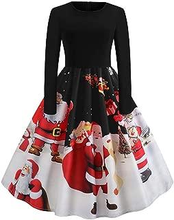 ZEFOTIM Christmas Women's Long Sleeve O Neck Printing Vintage Gown Evening Party Dress
