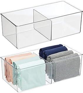mDesign boite de rangement avec 2 compartiments – caisse de rangement pratique pour chambre – boite en plastique sans BPA ...
