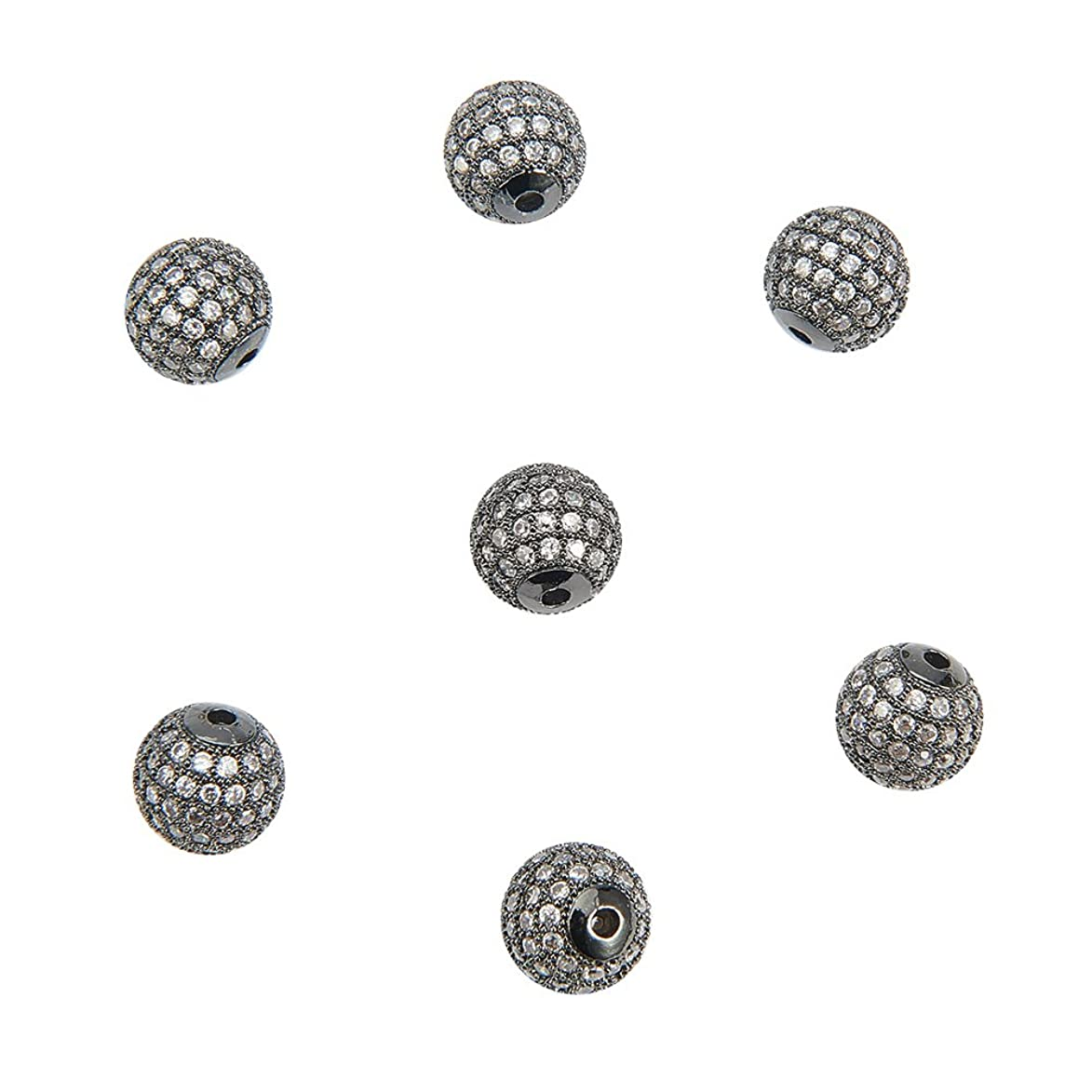NBEADS 10pcs 10mm Brass Clear Gemstones Cubic Zirconia CZ Stones Pave Micro Setting Disco Ball Spacer Beads, Round Bracelet Connector Charms Beads for Jewelry Making hmg495859989182
