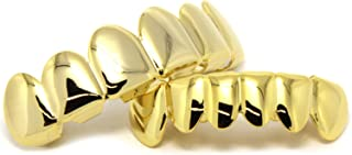 New Custom Fit 14k Gold Plated Hip Hop Teeth Grillz Caps Top & Bottom Grill Set