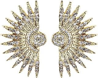 Bohemia Ethnic Jewelry Vintage Geometric Semicircle Section Fan Earrings for Women Tribal Antique Crystal Stud Earrings