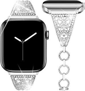 Goton Jewelry Band Compatible with Apple Watch Band 44mm 42mm, Women Dressy Retro Bling Crystal Diamond Stainless Steel Replacement Bracelet for iWatch Band Series 5 4 3 2 1 (Silver,44mm 42mm)