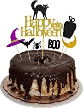 Happy Halloween with Black Cat Party Cake Topper Cupcake Picks Decoration Kit for Halloween Themed Birthday/Wedding Party Supplies