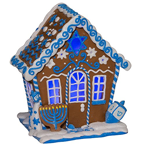 Kurt Adler 7-Inch LED Hanukkah Gingerbread House Tablepiece