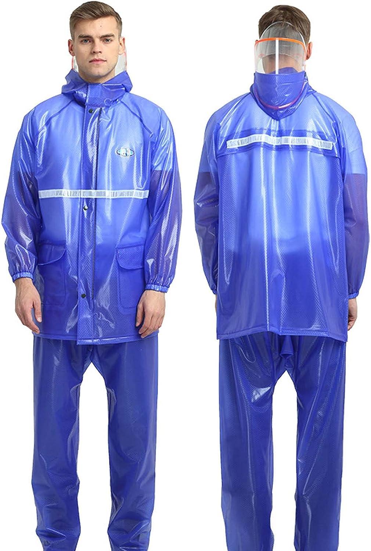 FHGH 2PCS Adult Split Raincoat, PVC Reflective Raincoat and Rain Pants Suit, Detachable Brim Design, for Fishing/Cycling,B,Large