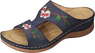 Sonnena Sandales Plates Femmes Confortables Orthopedique Chaussures Plateforme, Femmes Sandales Plates Toe T-Sangle Comfy ...
