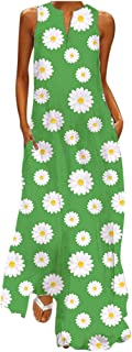 Women Floral Printed Maxi Dress, Ladies V-Neck Casual Loose Sleeveless Party Long Dress