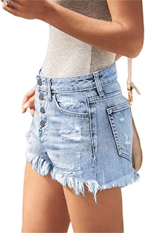 CHLDDHC Womens Shorts Denim Hot Pants High Waisted Raw Hemline