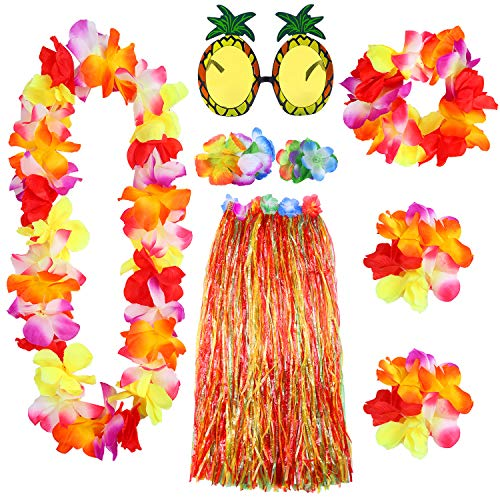 Elcoho 8 Pieces Large Colorful Hawaiian Hula Grass Skirt Sunglasses Leis Necklace Bracelet Set (Colorful)