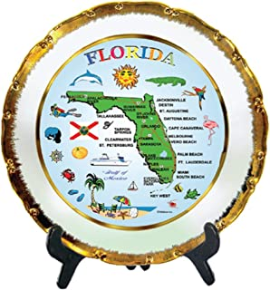 Rockin Gear Decorative Gold Rimmed Plate - Florida Blue Map Souvenir and Gift Kitchen Plate with Display Stand 8