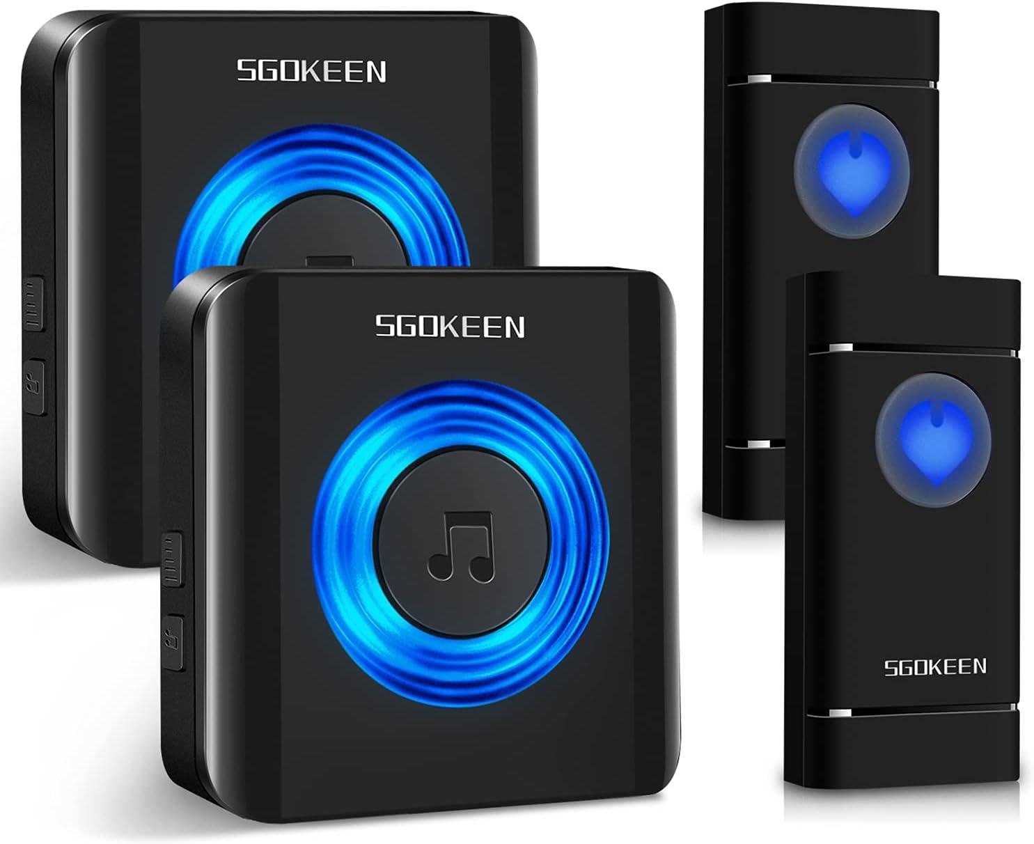 Wireless Doorbell,SGOKEEN Waterproof Door Chime Kit with Mute Mo