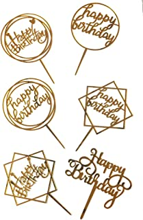 Bake Planet - 6 pcs Golden Happy Birthday Cake Topper for Birthday Decoration/Happy Birthday Cake Decoration Item - Pack of 6