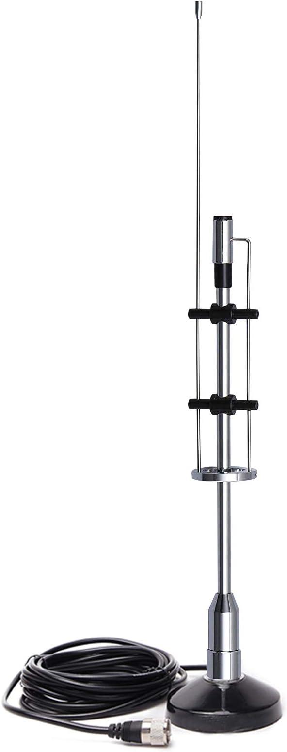 Antena Coche Universal Larga EasyTalk CBC-435 Banda Dual VHF/UHF Alta Ganancia Antena de Radio Móvil con Base Magnética 5M Cable Incluido para ...