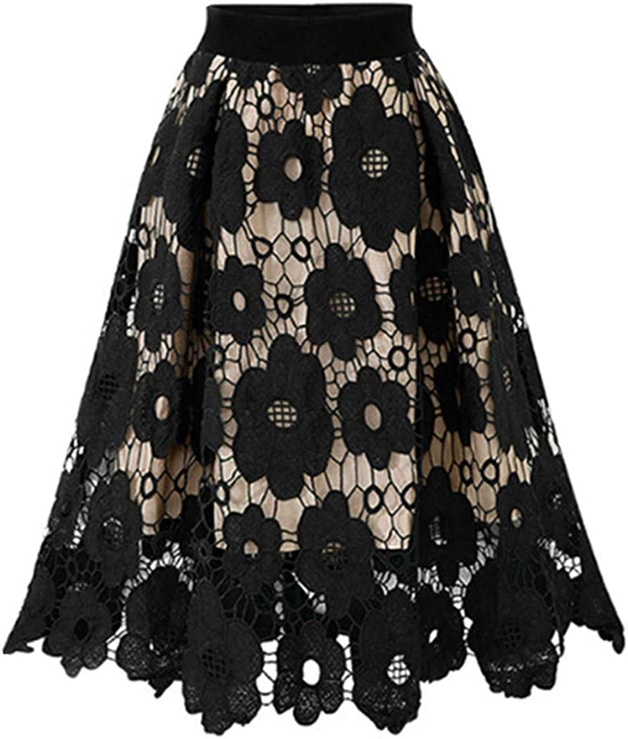 ManxiVoo Womens Lace Floral Midi Skirt Knee Length Casual Plus Size Floral Flared Short Skirt