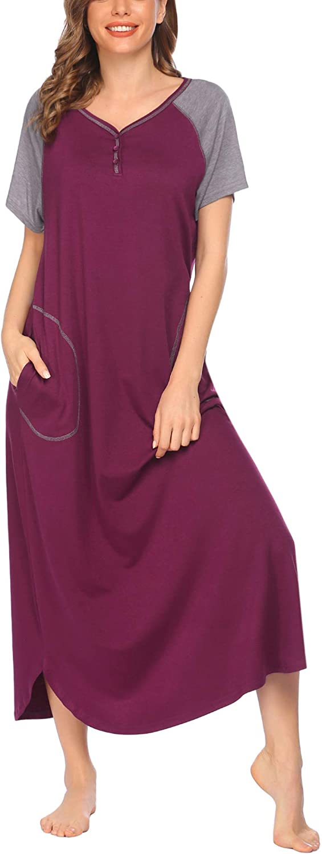 DREZZED Womens Long Nightshirt Plus Size Short Sleeve Oversized Nightgown Soft Sleepwear Sleepshirt with Pockets S-XXL