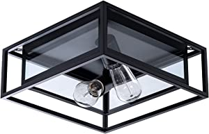VILUXY Industrial Rectangle Flush Mount Ceiling Light Fixture with Glass Shade for Hallway, Entryway, Passway, Dining Room, Bedroom, Balcony Living Room Two-Light