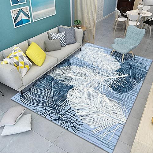Resistente A La Decoloración decoración del hogar Habitación Alfombra Azul Alfombra azul fresco plumas grandes moderno suave sala de estar alfombra antideslizante cómodo Alfombraes 180X280CM 5ft 10.9'