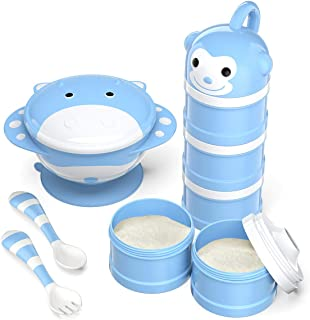 BabyKing Baby Feeding Set, Harmless & Cartoon, Baby Suction Bowl Set, Children Tableware Set, Suction Bowl, Spoons Forks Set, Milk Powder Dispensers for Baby's 3 Meals (Blue)