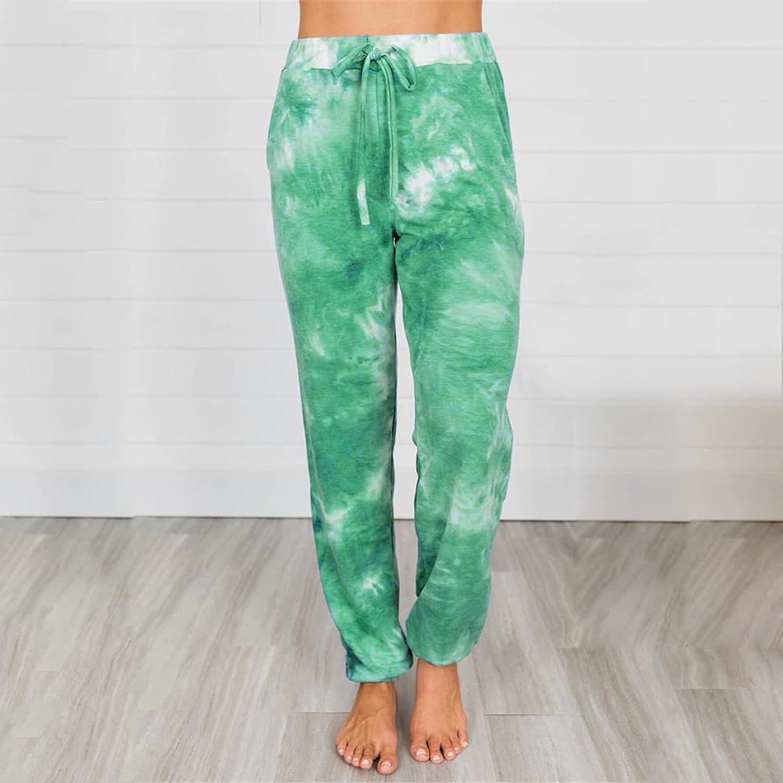 Women's Tie-dye Mid Waist Lantern Pants Cotton Loose Straight Pockets Trouser