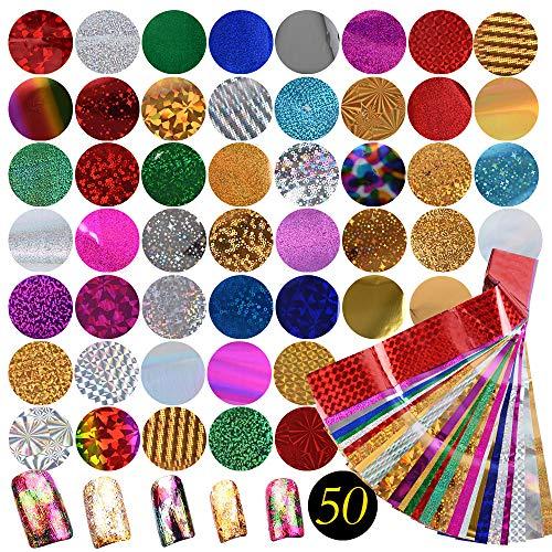 50 Pcs Nagel Transferfolie Aufkleber 4,5 x 25 cm Nail Art Fittings Folien Nagel Sticker Zauberfolie Glänzende Deko DIY Nagelschmuck Design