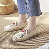 N&W Embroidered Shoes Handmade Women Embroidered Canvas Espadrilles Bohemian Ladies Comfortable Casual Slip On Flat Shoes Woman Driving Shoes Old Beijing Embroidered Shoes