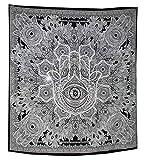Raajsee Hamsa Fatima Goddess Tentures Murales Indiennes / Noir et Blanc Tapisserie Mandala Hippie / Psychedelique Bohemian Rideaux Orientale Decorations/ Couvre lit Queen 210x220cms