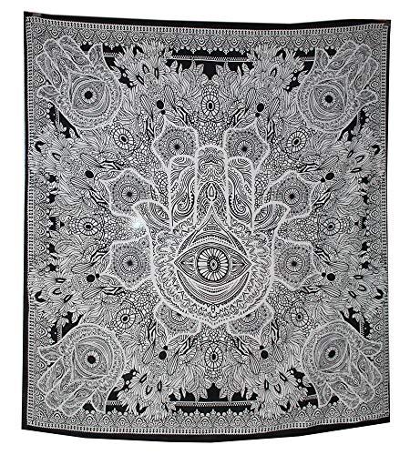 raajsee Exklusive Grau schwarz Hamsa Hand Fatima Marken Stickset für GOODLUCK, grau indischen Mandala Wand Kunst, schwarz und weiß Gobelin, Hippie Wandbehang, Bohemian Gr. 210 * 230 cms