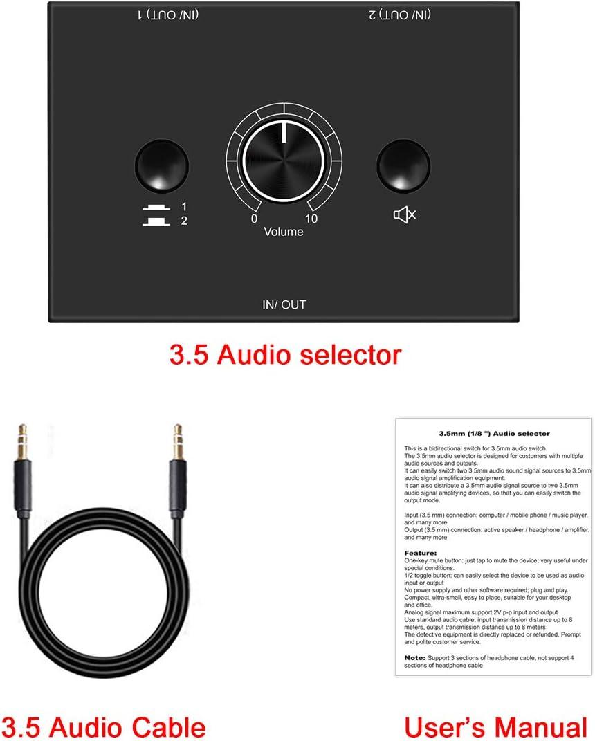 4 Port 3.5mm Stereo Audio Switcher Passive Speaker Headphone Manual Selector Splitter Box Audio Sharing