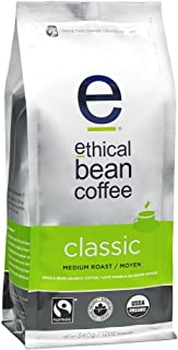 Ethical Bean Fair Trade Organic Coffee, Classic Medium Roast, Whole Bean Coffee  - 12oz (340g) Bag