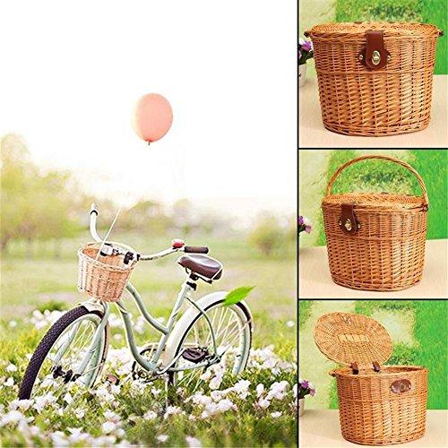 Sue Supply Weidenkorb fürs Fahrrad Kompakter Vintagekorb Fahrradkorb, 33 * 25 * 24cm