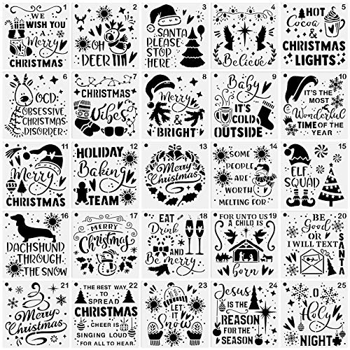 25-Pack Christmas Decoration Stencils 6 x 6 Inch Painting Templates for Scrapbooking Cookie Tile Furniture Wall Floor Decor Craft Drawing Tracing DIY Art Supplies