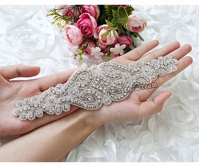 Crystal Rhinestone Applique for Bridal Belt Wedding Dress Garters Headpieces
