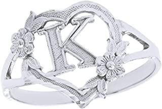 CaliRoseJewelry Silver Initial Alphabet Personalized Heart Ring - Letter K