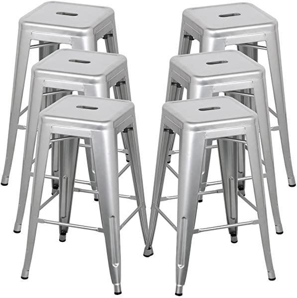 Belleze 30 Inch Metal Bar Stools Modern Barstool Stool Chair Stackable Chair Footrest Gray Set Of 6