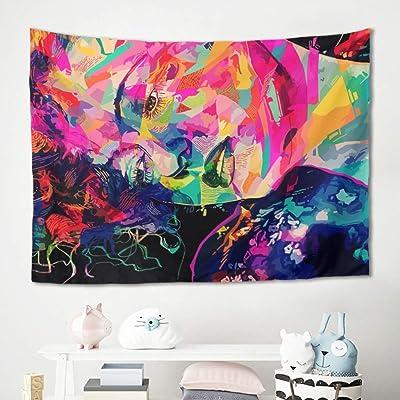 Homedb Tapiz decorativo de pared, diseño de un rostro de niña colorido, manta para picnic, yoga, meditación, para el dormitorio, para la cama