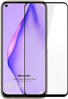 Microsonic Huawei P40 Lite Tam Kaplayan Temperli Cam Ekran Koruyucu Siyah
